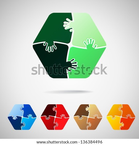 hexagon  from puzzle pieces, vector illustration - stock vector