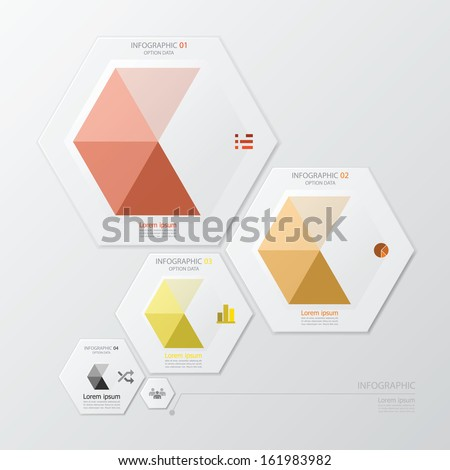 Hexagon Geometric Shape Infographic Design Template - stock vector