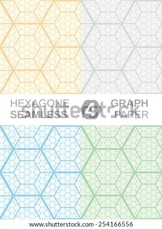 Hexagon Graph Paper. Set of 4 seamless backgrounds. - stock vector