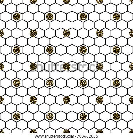 hexagon grid cells glitter polka vector seamless pattern hexagonal tile background in black gold