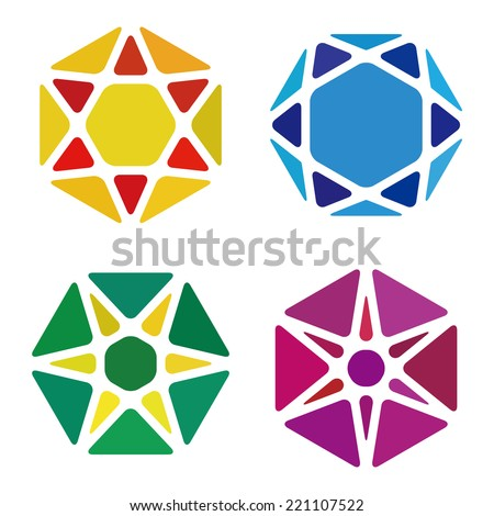 Hexagon logo pattern. Colorful precious stone icons set. Crystal abstract template. Jewelry concept. Vector icon. Gem symbol.  - stock vector