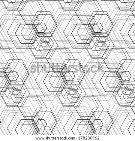 Hexagon pattern including seamless sample in swatch panel - stock vector