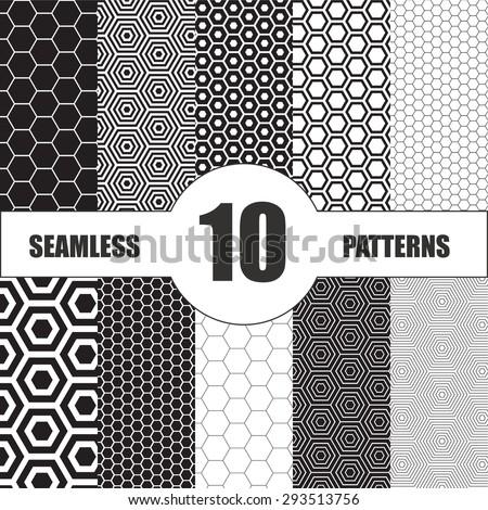 hexagon patterns set. Vector geometric patterns - stock vector