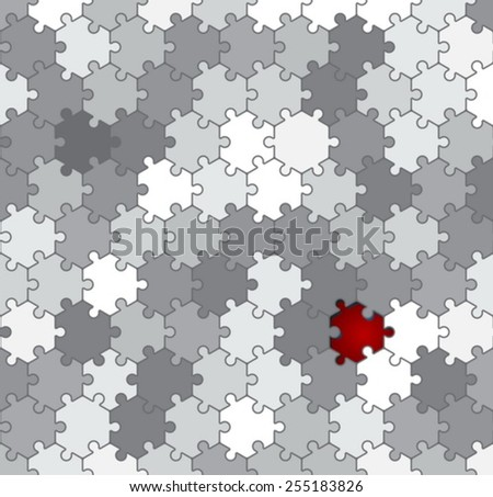 hexagon puzzle background - stock vector