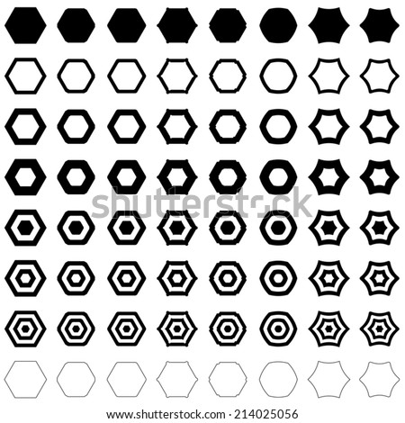 Hexagon set - vector version  - stock vector