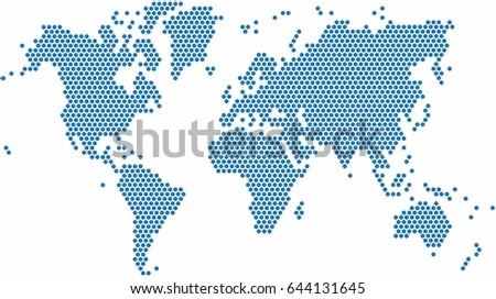 Hexagon shape world map on white stock vector 644131645 shutterstock hexagon shape world map on white background vector illustration gumiabroncs Choice Image