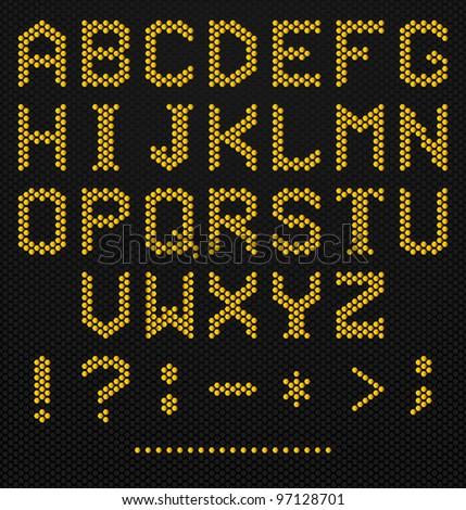 Hexagon Shaped Alphabet on high tech texture - stock vector