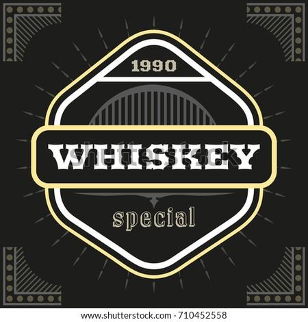 Hexagon Shaped Dark Whiskey Label Template