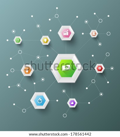 Hexagon with icons And Communication Background - Vector Illustration, Graphic Design Useful For Your Design, network concept. - stock vector