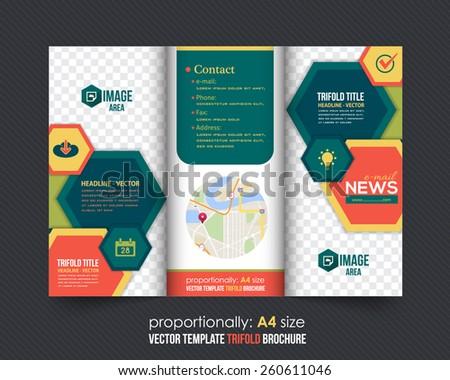 Hexagonal Frames Style Tri-Fold Brochure Design. Corporate Leaflet, Cover Template - stock vector