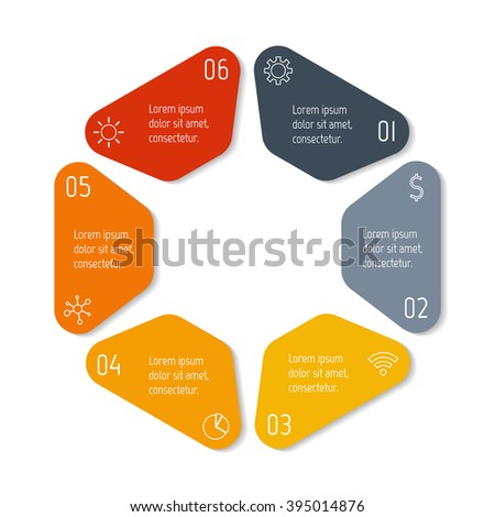 Hexagonal infographic banner with 6 options. Isolated number banner template for diagram, presentation or chart. Progress steps for tutorial. Business concept sequence banner. - stock vector