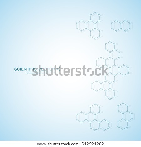 Hexagonal molecule. Molecular structure. Genetic and chemical compounds. Chemistry, medicine, science and technology concept. Geometric abstract background. Atom, DNA and neurons vector.