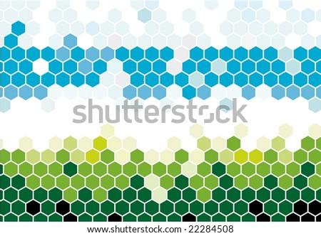 Hexagonal mosaic in nature colors - stock vector