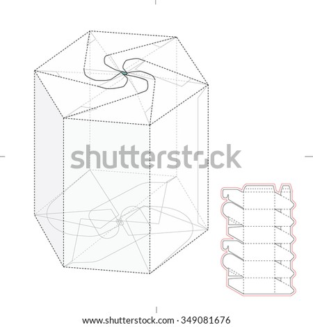 Hexagonal Push Lock Tube Retail Box with Die Cut Template - stock vector