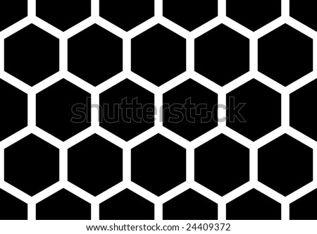 Hexagonal seamless honey bee  pattern - stock vector