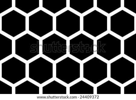 Hexagonal seamless honey bee  pattern - stock vector