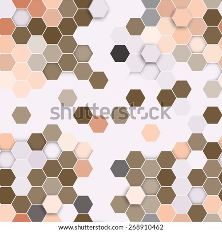 Hexagonal seamless pattern. Repeating geometric brown background. - stock vector