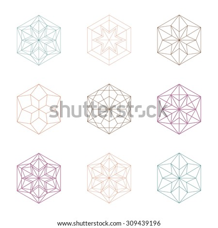 Hexagonal shapes set. Crystal forms. Winter design elements. Hexagons vector illustration. Snowflakes collection. - stock vector