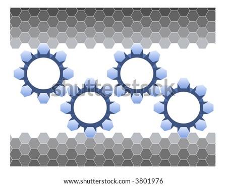 Hexagons and Gears - stock vector