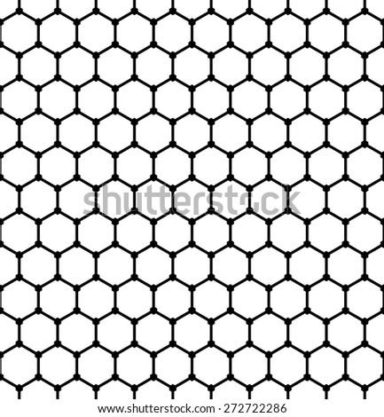 Hexagons pattern. Seamless geometric latticed texture. Vector art. - stock vector