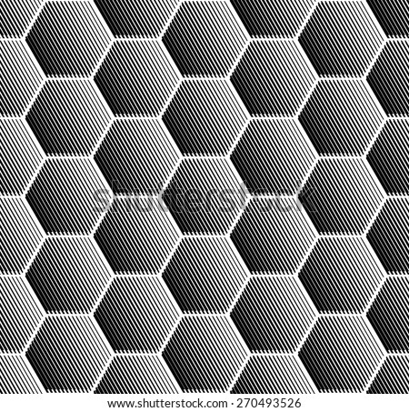 Hexagons pattern. Seamless geometric texture. Vector art. - stock vector