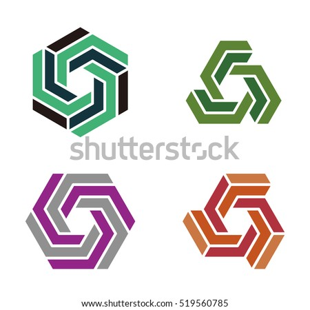Hexagram Symbol Cubical Abstract Icon Hexagon Stock Vector 519560785