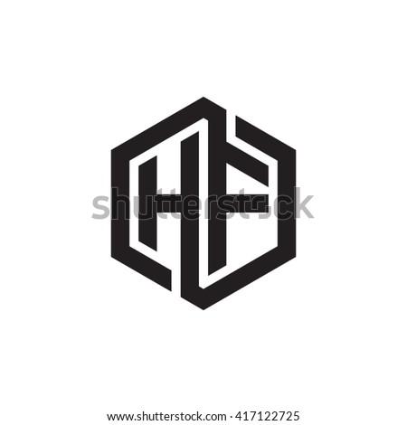 HF Initial Letters Looping Linked Hexagon Stock-Vektorgrafik ...