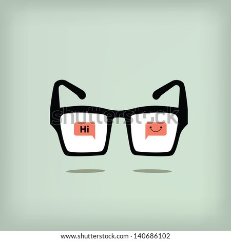 Hi and smile on black glasses retro style,vector eps 10 - stock vector