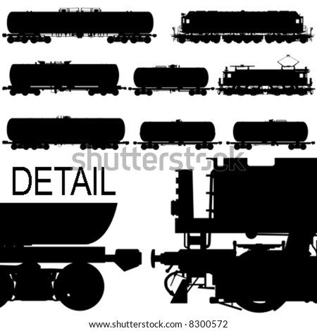 Hi-detail railway oil/gasoline tanker cars and locomotives silhouette set. - stock vector