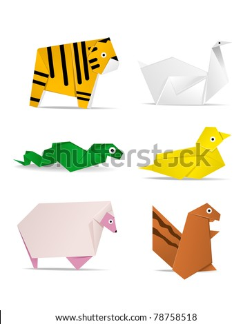 hi-detail vector of origami of animals. See my portfolio for other origami image