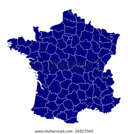 hi detailed map of france - stock vector