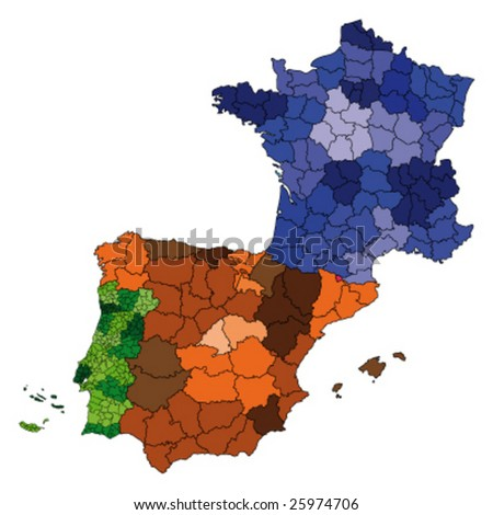 Hi Detailed Map France Spain Portugal Stock Vector - France and spain map