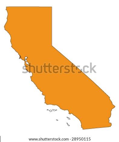 hi detailed vector map of california, usa - stock vector