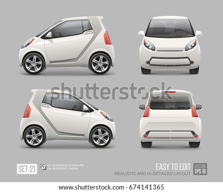Hidetailed White Micro Car Vector Template Stock Vector 674141365 ...