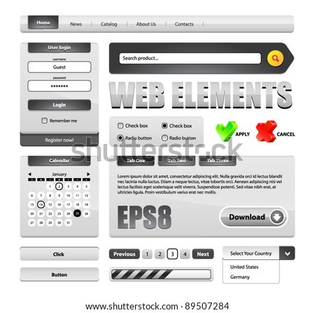 Hi-End Grayscale Web Interface Design Elements Version 2: buttons, menu, progress bar, radio button, check box, login form, search, pagination, icons, tabs, calendar. - stock vector