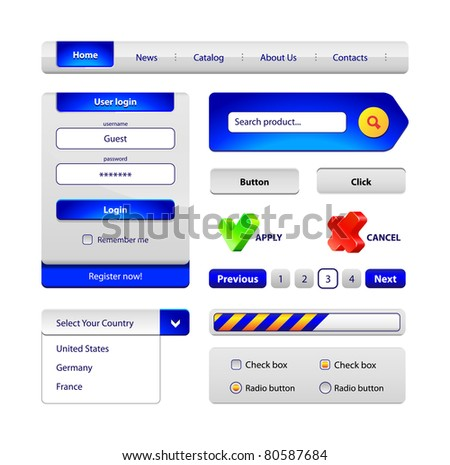 Hi-End Web Interface Design Elements: buttons, menu, progress bar, radio button, check box, login form, search, pagination, icons.
