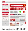 Hi-End Web Interface Design Elements Red Version 2: buttons, menu, progress bar, radio button, check box, login form, search, pagination, icons, tabs, calendar. - stock vector