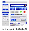 Hi-End Web Interface Design Elements Version 2: buttons, menu, progress bar, radio button, check box, login form, search, pagination, icons, tabs, calendar. - stock vector