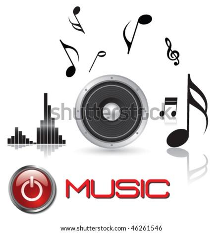 HI-FI Stereo Speaker With Musical Elements -Vector Art- - stock vector