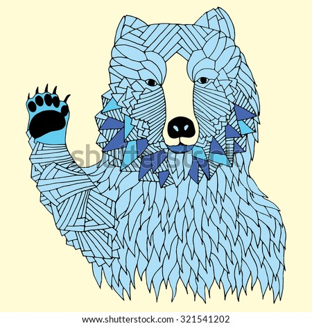 Hi five blue bear illustration on simple yellow background - Good for T-shirt, bag or whatever print. Vector illustration - stock vector