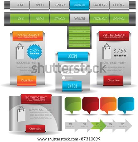 hi quality complete web designing elements - stock vector
