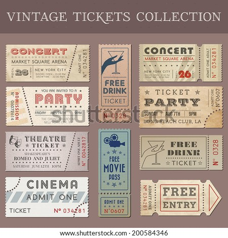 Hi quality vector tickets and coupons. Each ticket is organized in layers, separating background from art and text and graphic elements - stock vector