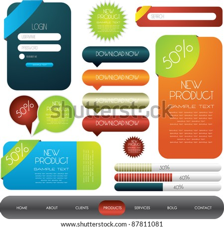 hi quality web designing elements collection - stock vector