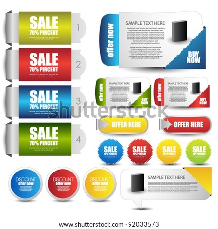 hi quality web elements collection - stock vector
