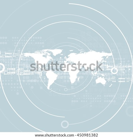 Hi-tech abstract geometric background with world map. Light blue technology vector design - stock vector