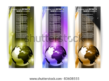 Hi Tech business card or web header backgrounds with 3D earth design and 3 colours option. - stock vector