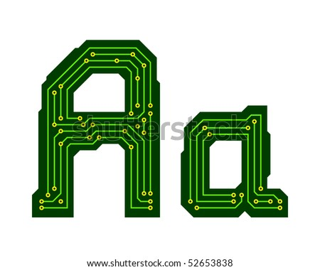 Hi-tech circuit board alphabet. Letter A - stock vector