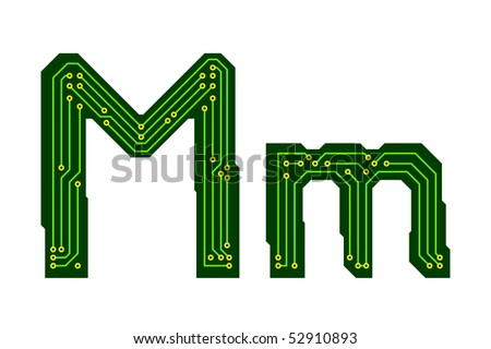 Hi-tech circuit board alphabet. Letter M - stock vector
