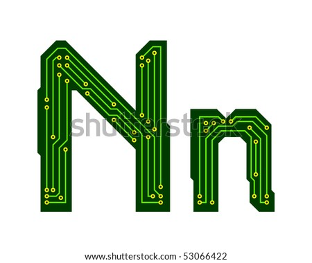 Hi-tech circuit board alphabet. Letter N - stock vector