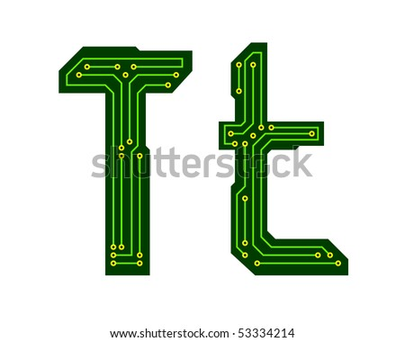 Hi-tech circuit board alphabet. Letter T - stock vector